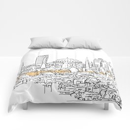Modern and old Istanbul panorama drawing Comforters