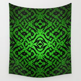 Green tribal shapes pattern Wall Tapestry