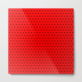 Polka / Dots - Black / Red - Small Metal Print