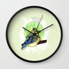 Spring birdy / Nr. 6 Wall Clock