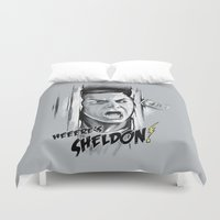 bazinga Duvet Covers featuring Heeere's Sheldon! by 6amcrisis