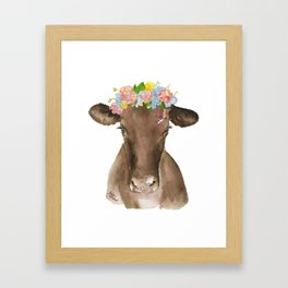 Brown Cow with Floral Wreath Framed Art Print