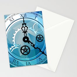 Blue Clock Stationery Cards
