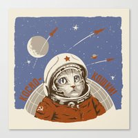 soviet Canvas Prints featuring Soviet Space Cat by Chris Kawagiwa
