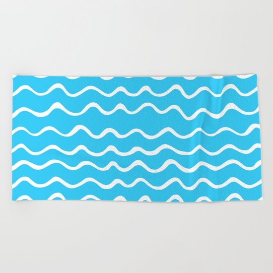 Simple aqua and white handrawn waves - for your summer on #Society6 Beach Towel