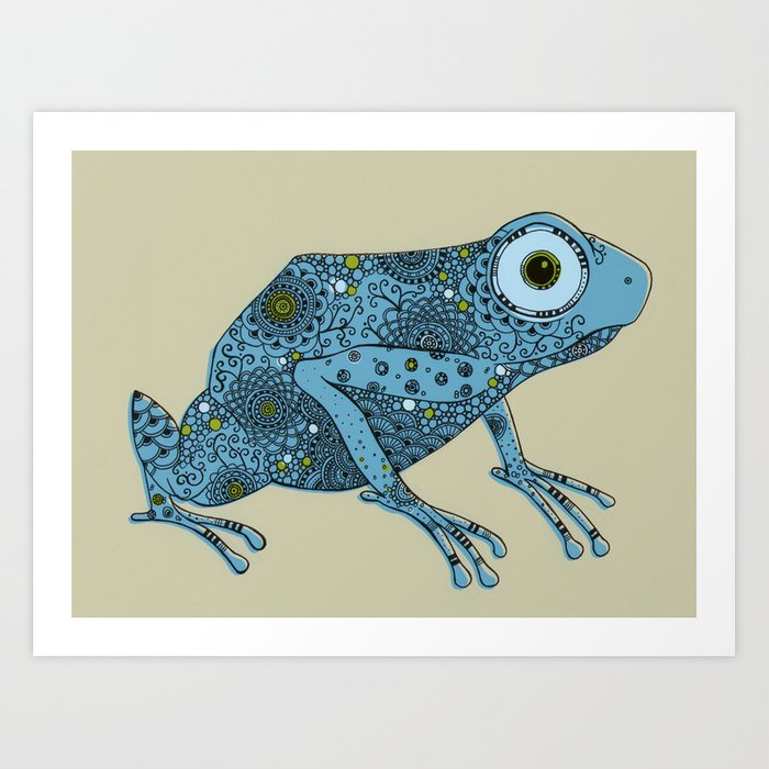 Little blue frog Art Print