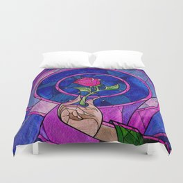 Enchanted Rose Stained Glass Duvet Cover