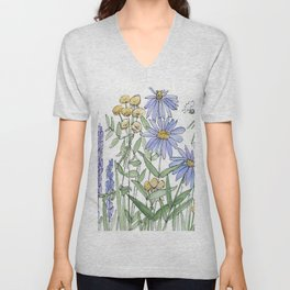 Asters and Wild Flowers Botanical Nature Floral Unisex V-Neck