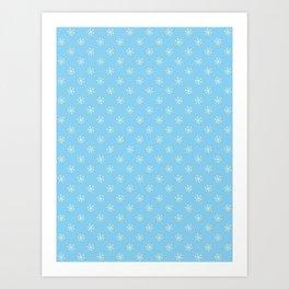 Cream Yellow on Baby Blue Snowflakes Art Print