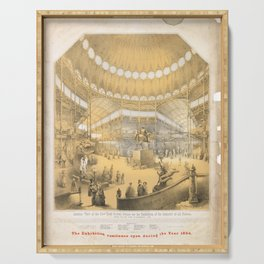 Vintage interior view of the new york crystal palace. 1853 Serving Tray