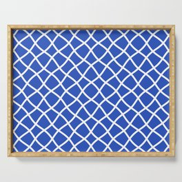 Classic blue and white curved grid pattern Serving Tray