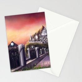 Myrinthor Fantasy Art Print Landscape Painting Mountain Castle Fantasy City Ocean Sunset Stationery Cards