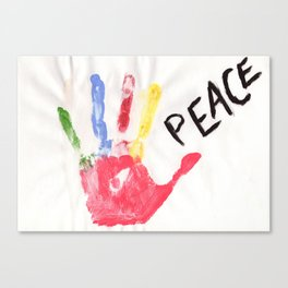 Color print of palm with word peace Canvas Print