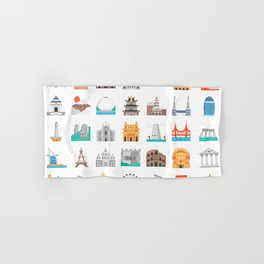 CUTE FAMOUS MONUMENTS PATTERN Hand & Bath Towel