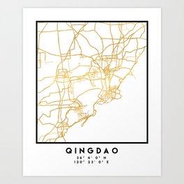 QINGDAO CHINA CITY STREET MAP ART Art Print