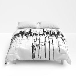 Black and White Cityscape Comforters