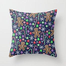 Jolly Gingerbread Throw Pillow