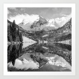 Maroon Bells - Aspen Colorado - Monochrome - American Southwest 1x1 Art Print