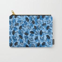 Ginkgo Biloba linocut pattern LIGHT BLUE Carry-All Pouch
