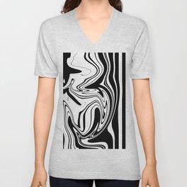 Stripes, distorted 1 Unisex V-Neck