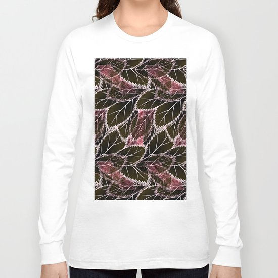 Bright leaves on a black background. Long Sleeve T-shirt