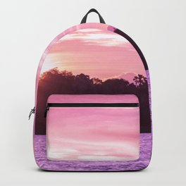 Beautiful Pink Beach and Sunset Backpack
