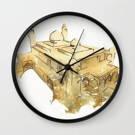 Mosque Watercolor Painting Architecture Building Brown Natural Neutral Expressive Art Wall Clock