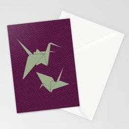 Origami paper cranes on purple waves Stationery Cards