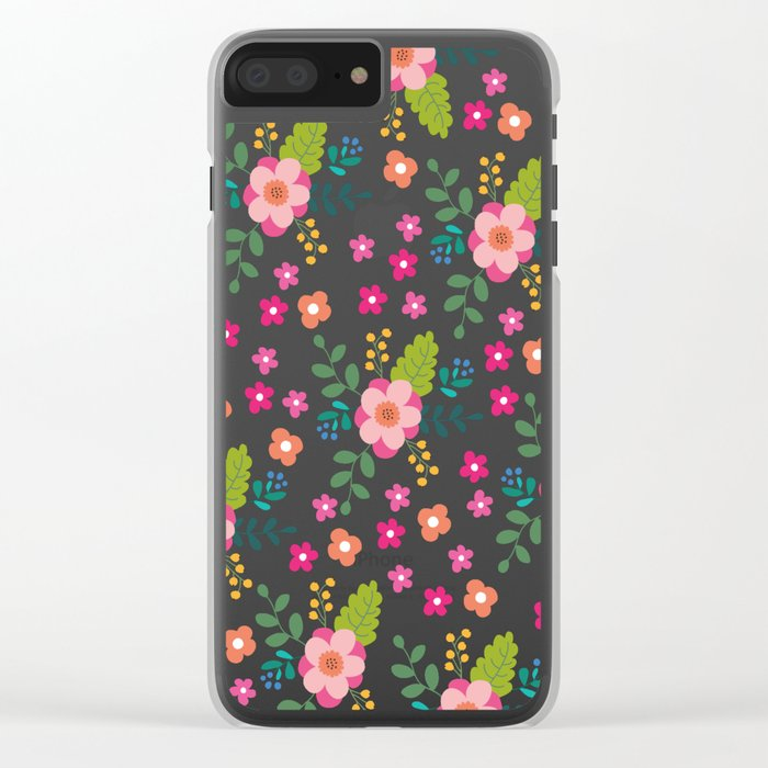 Pink Fuchsia Spring Flower Pattern Clear iPhone Case