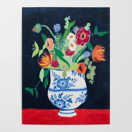Bouquet of Flowers in Blue and White Urn on Navy Poster