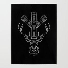 Algiz  Rune and Deer in Silver Poster