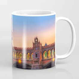 Famous Berlin City Oberbaum Bridge Across Spree River At Romantic Evening Red Ultra HD Coffee Mug