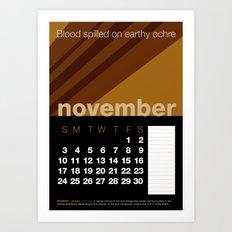 2013 Pigment to Pantone Calendar – NOVEMBER Art Print