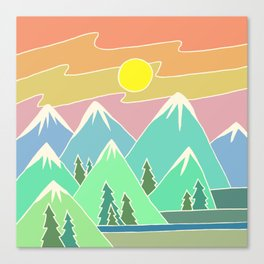 Mountain Scene | Digital Drawing | Mountains Sunset | Mountain Range Canvas Print