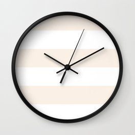 Wide Horizontal Stripes - White and Linen Wall Clock