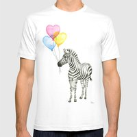 Zebra Watercolor With Heart Shaped Balloons Whimsical Baby Animals White MEDIUM Mens Fitted Tee