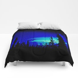 Aurora Borealis Forest Vibrant Comforters
