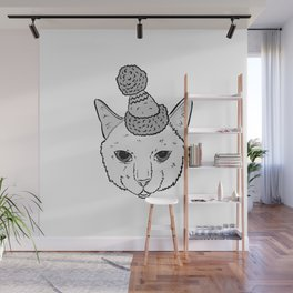 Cute Cat In A Hat Cartoon Illustration Wall Mural