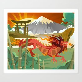 red chinese asian flying dragon Art Print