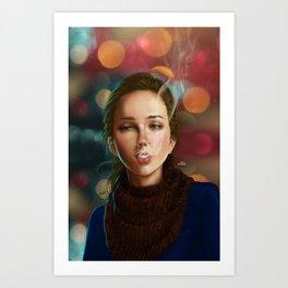 Smoking girl Art Print