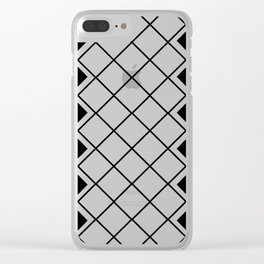 Black and white nordic geometric diamond pattern Clear iPhone Case