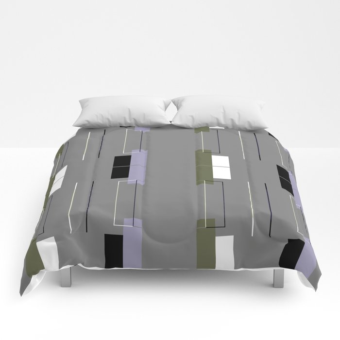 White Hairline Gray Squares Comforters