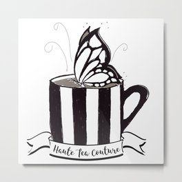 Black & White Butterfly on a Tea Cup Metal Print