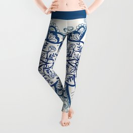 Blue Floral Pattern on Cream Leggings