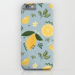 Whimsical Repeat Lemon Print Illustration - Blue iPhone Case