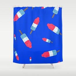 Popsicles - Retro Pattern - (cobalt blue background) Shower Curtain