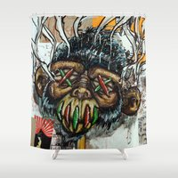 ape Shower Curtains featuring Ape Shrunkhead by Reboot