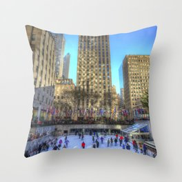 New York Ice Skating Throw Pillow