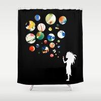 bubbles Shower Curtains featuring Bubbles by Line Westendahl