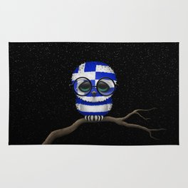 Baby Owl with Glasses and Greek Flag Rug